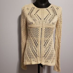 DeX Creamy Knit sweater with sheer half back S